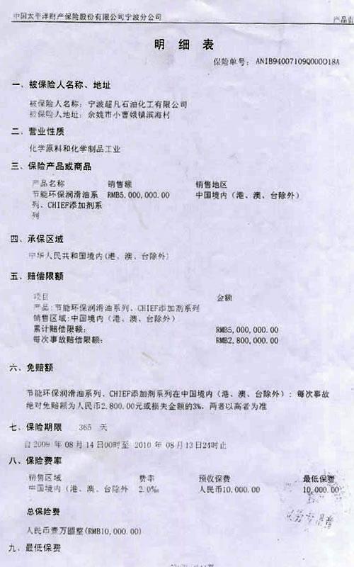中国太平洋财产保险股份有限公司宁波分公司